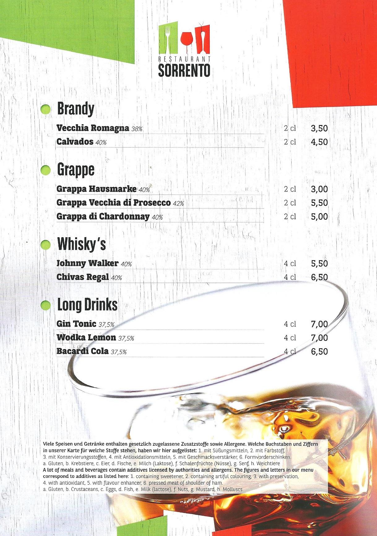 Brandy / Grappa / Whisky / Long Drings